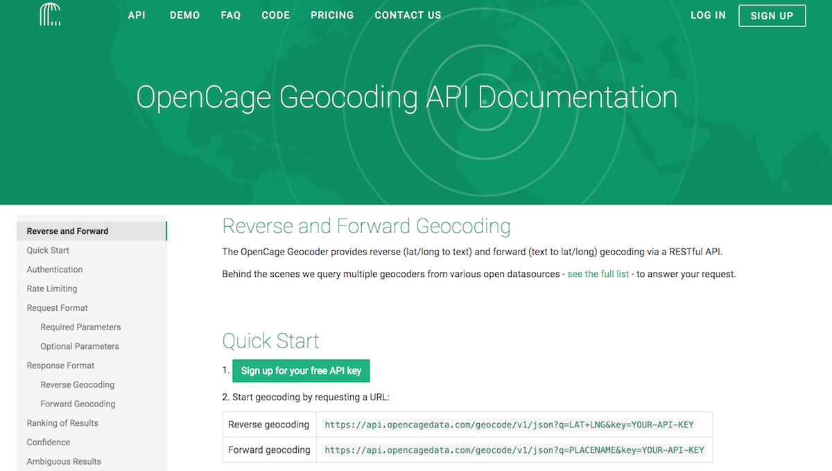 OpenCage Geocoder API Documentation