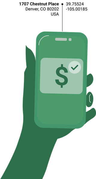 Geocoding for the payment processing